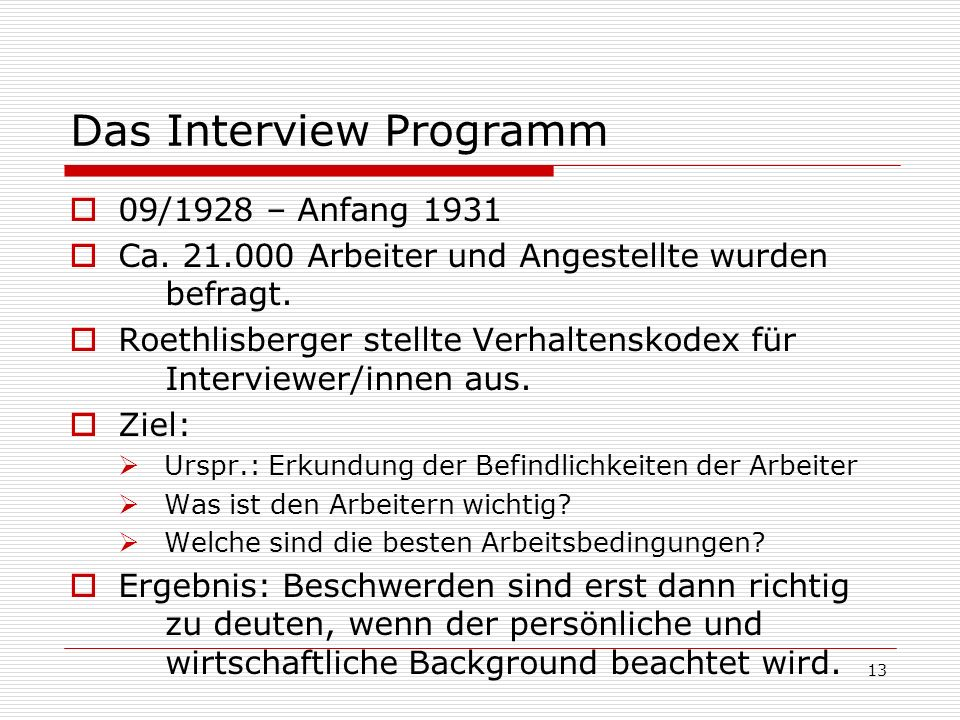 Das Interview Programm