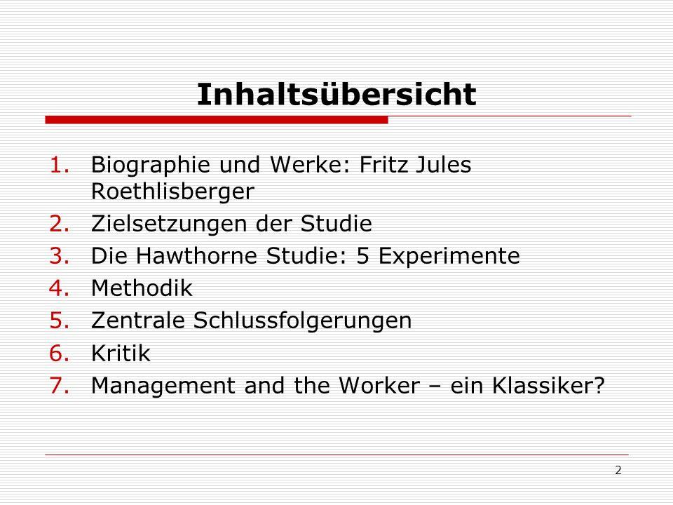 Inhaltsübersicht Biographie und Werke: Fritz Jules Roethlisberger