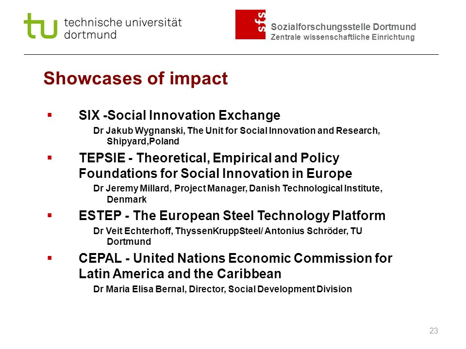 Showcases of impact SIX -Social Innovation Exchange