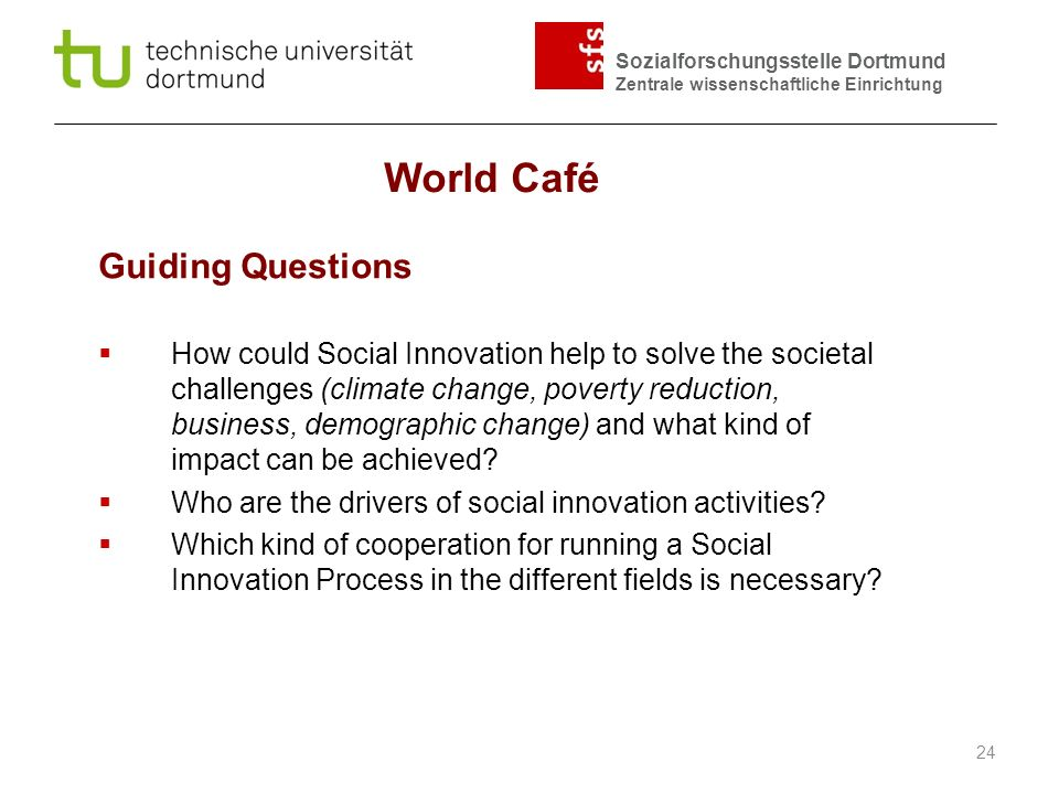 World Café Guiding Questions