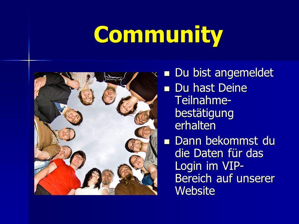 Community Du bist angemeldet