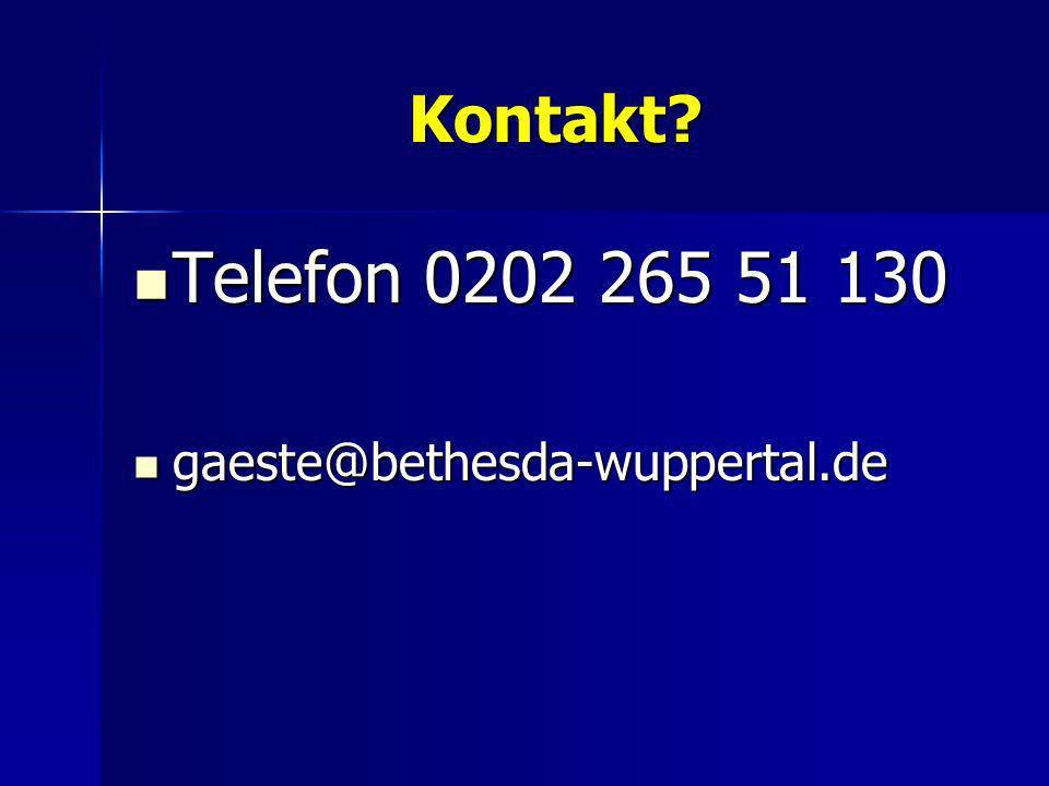 Kontakt Telefon 0202 265 51 130 gaeste@bethesda-wuppertal.de