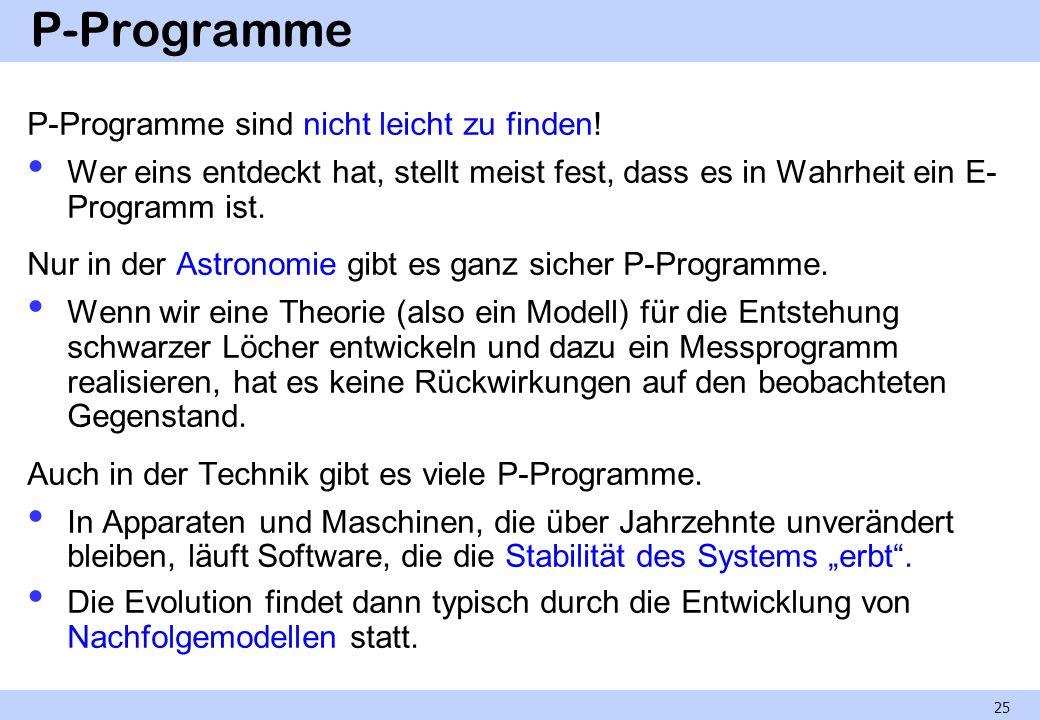 P-Programme P-Programme sind nicht leicht zu finden!