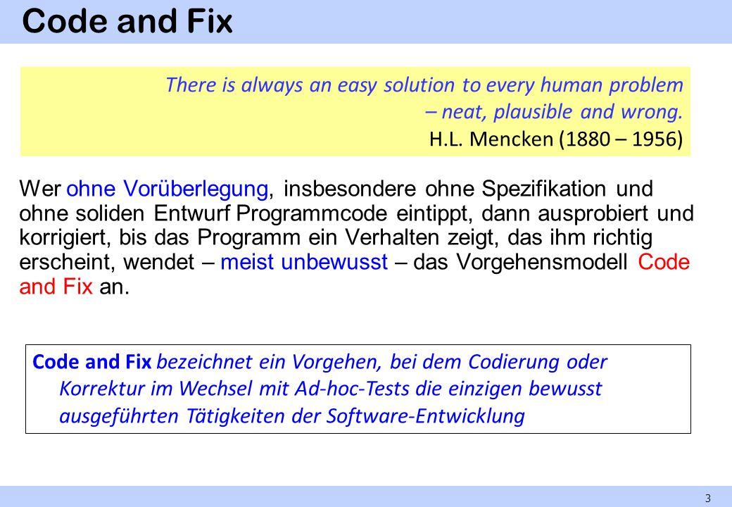 Code and Fix There is always an easy solution to every human problem