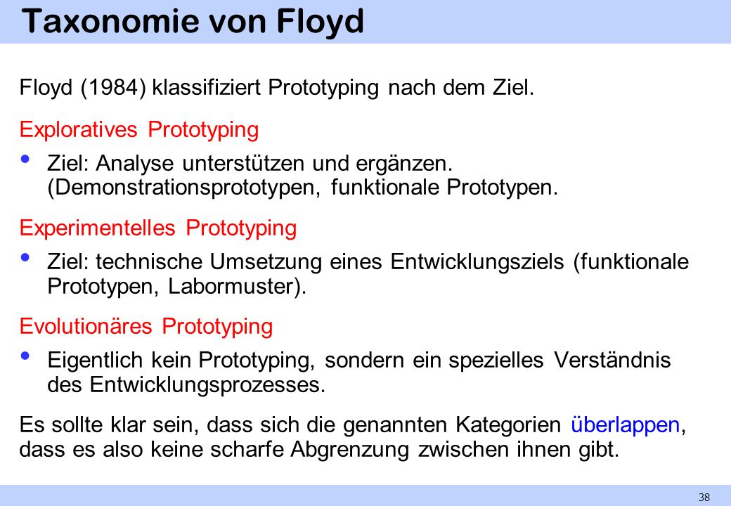Taxonomie von Floyd Floyd (1984) klassifiziert Prototyping nach dem Ziel. Exploratives Prototyping.