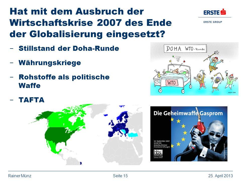 Hat mit dem Ausbruch der Wirtschaftskrise 2007 des Ende der Globalisierung eingesetzt