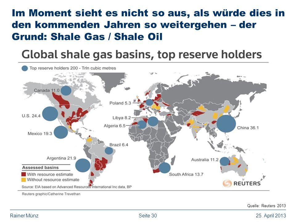 Im Moment sieht es nicht so aus, als würde dies in den kommenden Jahren so weitergehen – der Grund: Shale Gas / Shale Oil