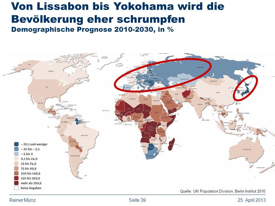 Von Lissabon bis Yokohama wird die Bevölkerung eher schrumpfen Demographische Prognose 2010-2030, in %