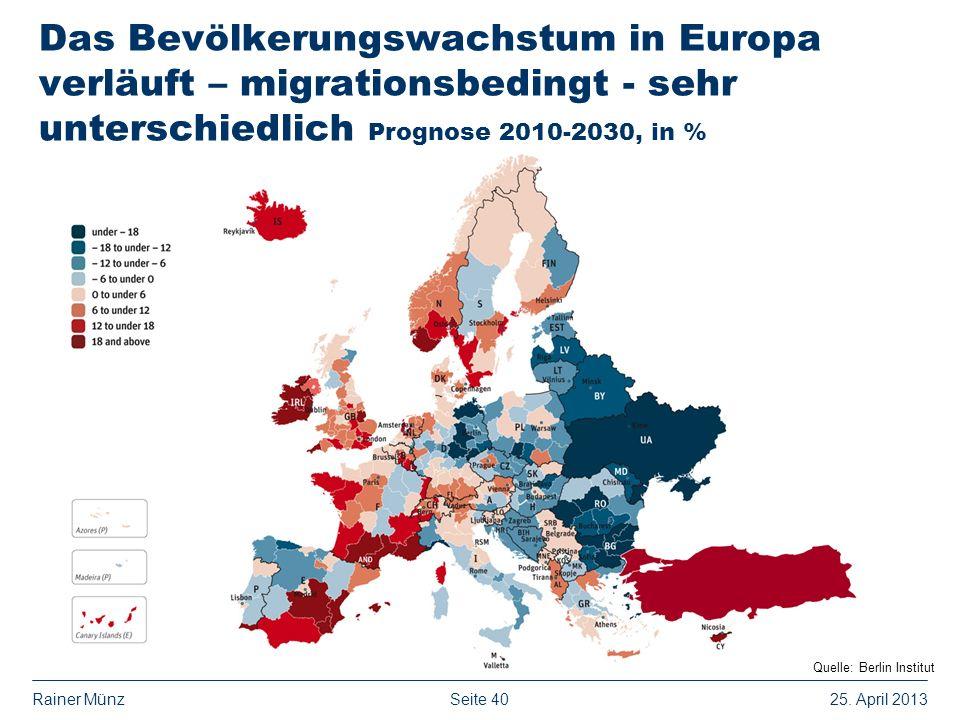 Das Bevölkerungswachstum in Europa verläuft – migrationsbedingt - sehr unterschiedlich Prognose 2010-2030, in %