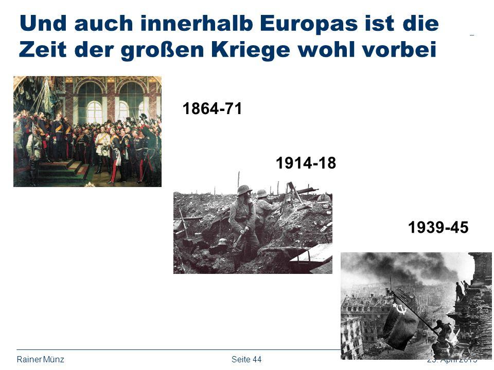 Und auch innerhalb Europas ist die Zeit der großen Kriege wohl vorbei