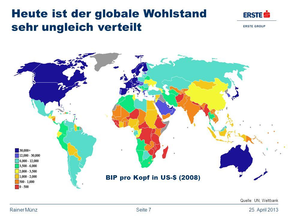 Heute ist der globale Wohlstand sehr ungleich verteilt