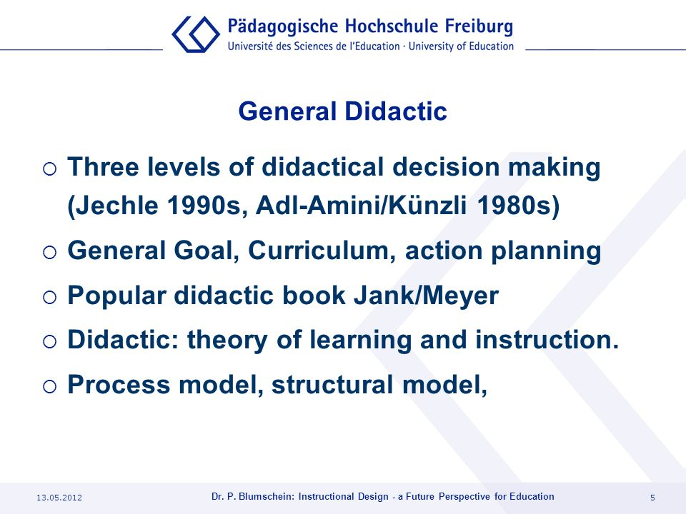 General Goal, Curriculum, action planning