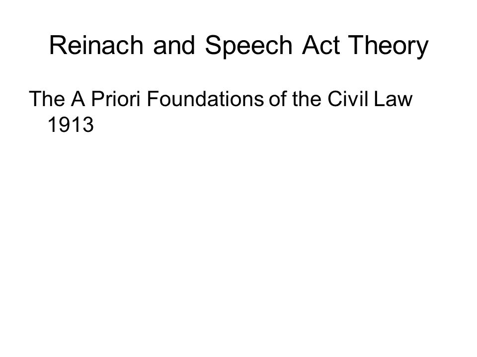 Reinach and Speech Act Theory
