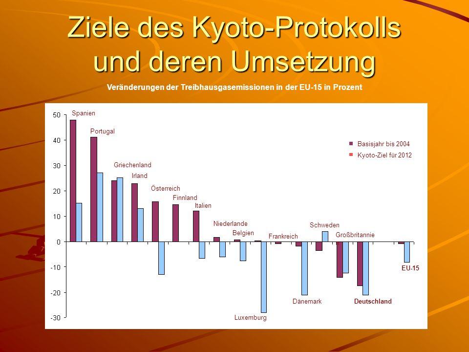 Ziele des Kyoto-Protokolls und deren Umsetzung