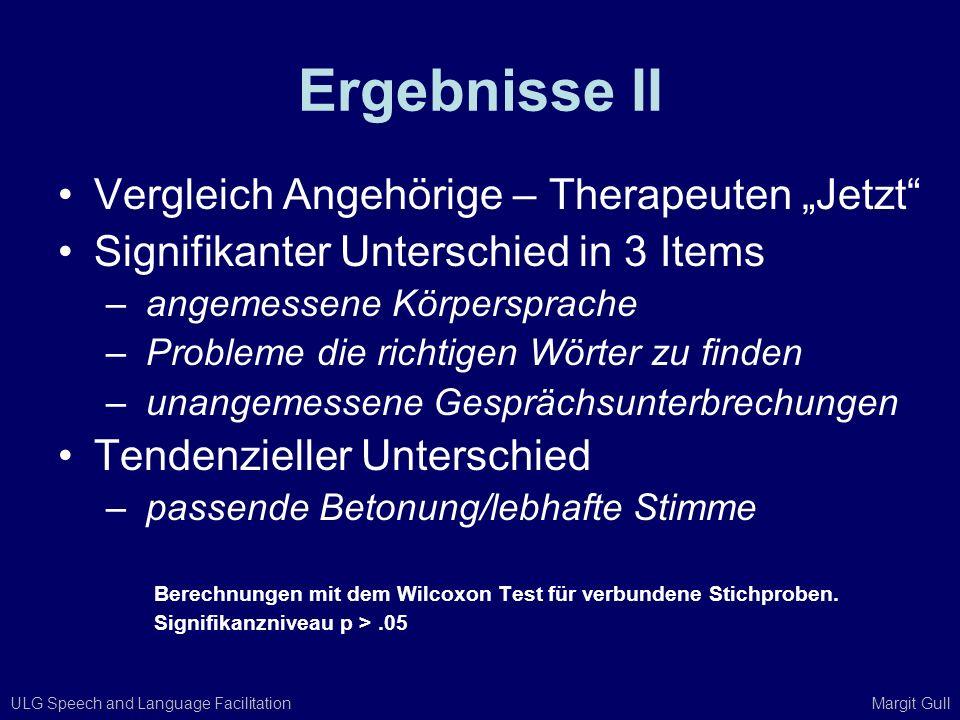 """Ergebnisse II Vergleich Angehörige – Therapeuten """"Jetzt"""