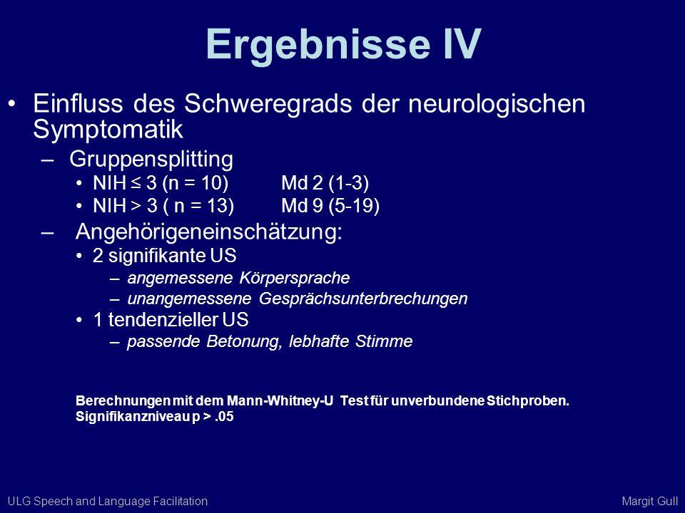 Ergebnisse IV Einfluss des Schweregrads der neurologischen Symptomatik
