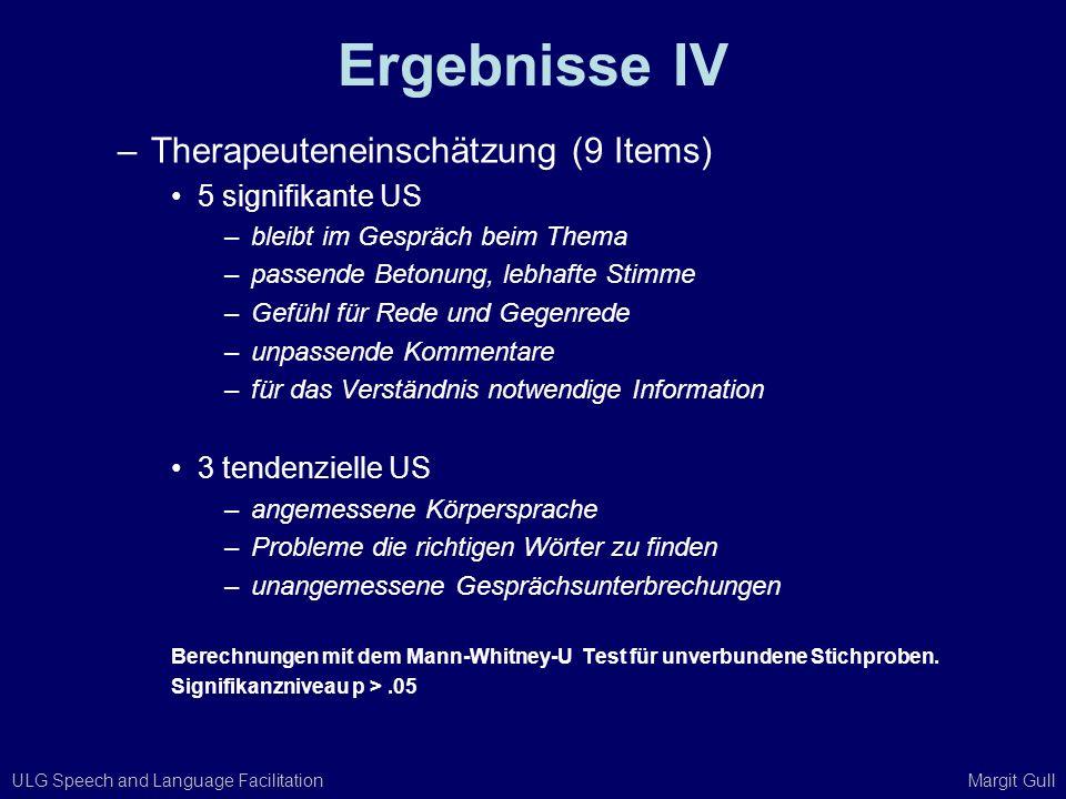 Ergebnisse IV Therapeuteneinschätzung (9 Items) 5 signifikante US