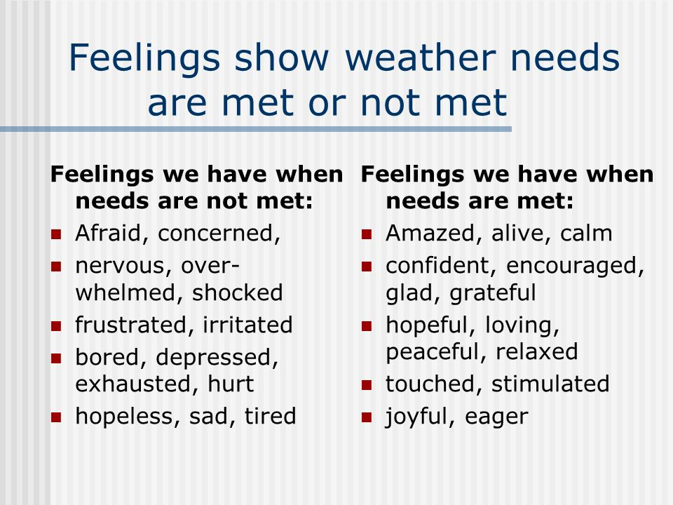 Feelings show weather needs are met or not met