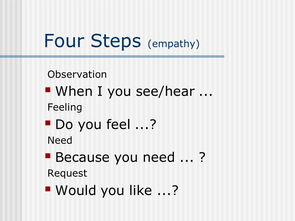Four Steps (empathy) When I you see/hear ... Do you feel ...