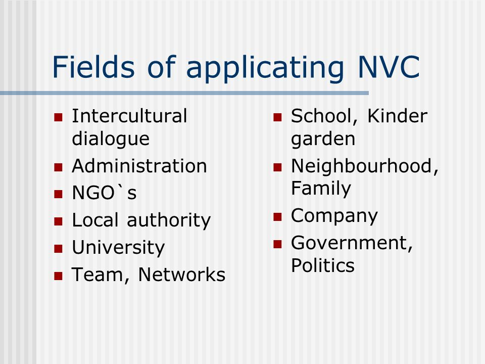 Fields of applicating NVC