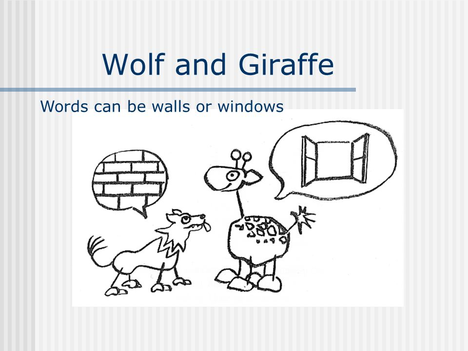 Wolf and Giraffe Words can be walls or windows