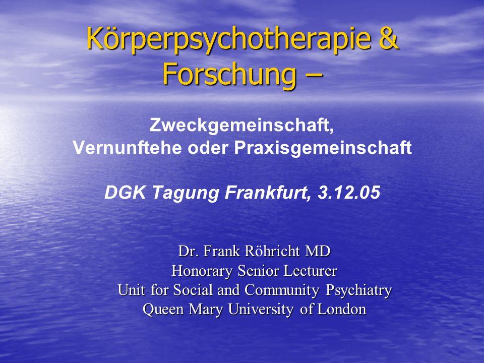Körperpsychotherapie & Forschung – Zweckgemeinschaft, Vernunftehe oder Praxisgemeinschaft DGK Tagung Frankfurt, 3.12.05
