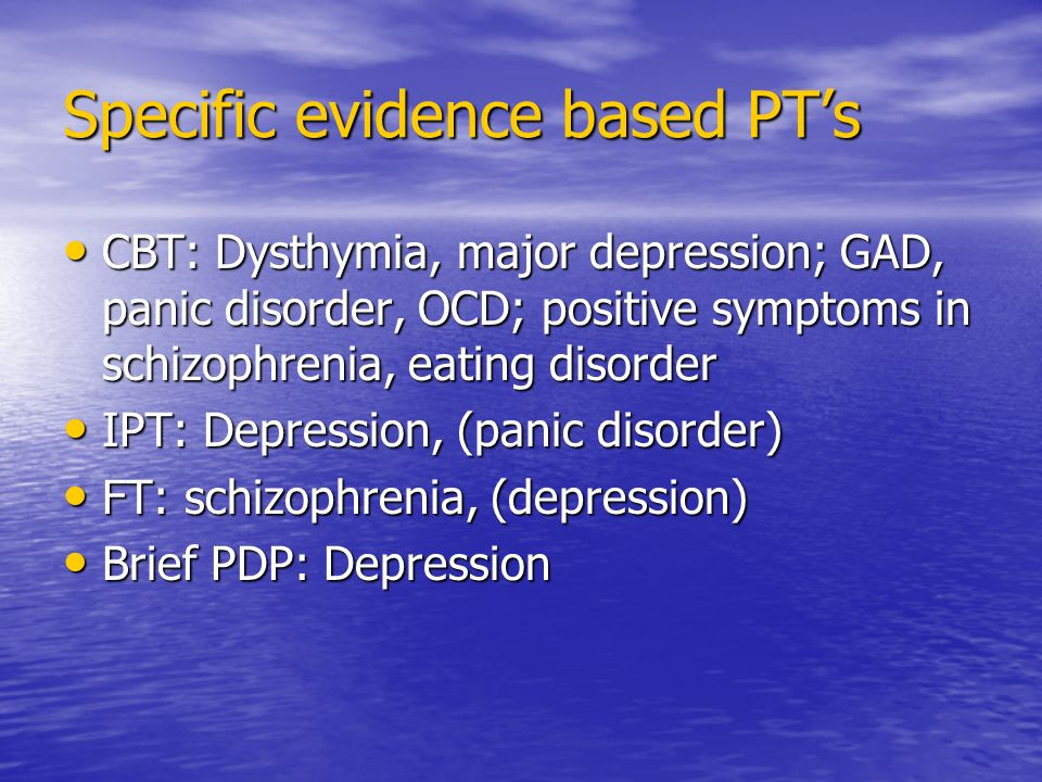 Specific evidence based PT's