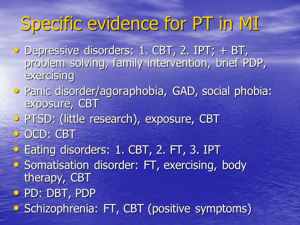 Specific evidence for PT in MI