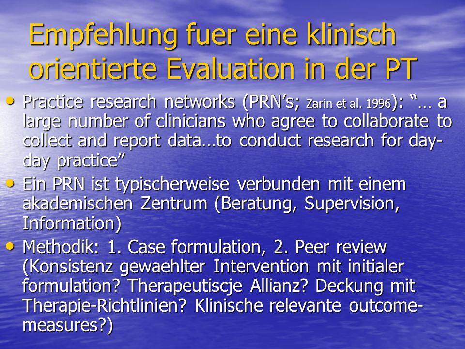Empfehlung fuer eine klinisch orientierte Evaluation in der PT