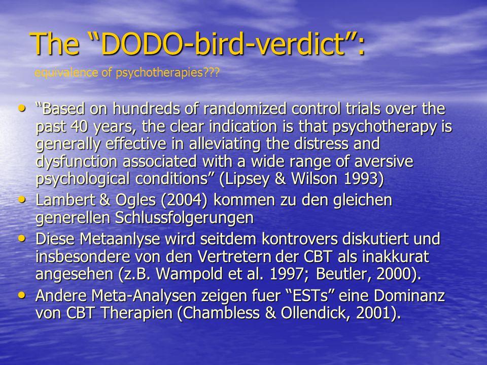 The DODO-bird-verdict : equivalence of psychotherapies