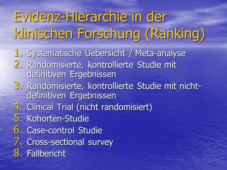 Evidenz-Hierarchie in der klinischen Forschung (Ranking)