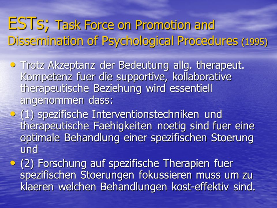 ESTs; Task Force on Promotion and Dissemination of Psychological Procedures (1995)