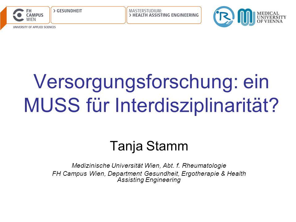 Versorgungsforschung: ein MUSS für Interdisziplinarität