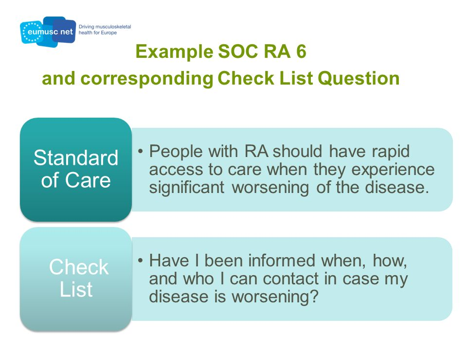 Example SOC RA 6 and corresponding Check List Question