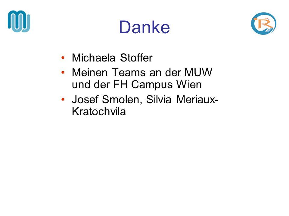 Danke Michaela Stoffer Meinen Teams an der MUW und der FH Campus Wien
