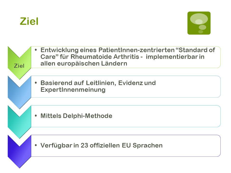 Ziel Ziel. Entwicklung eines PatientInnen-zentrierten Standard of Care für Rheumatoide Arthritis - implementierbar in allen europäischen Ländern.
