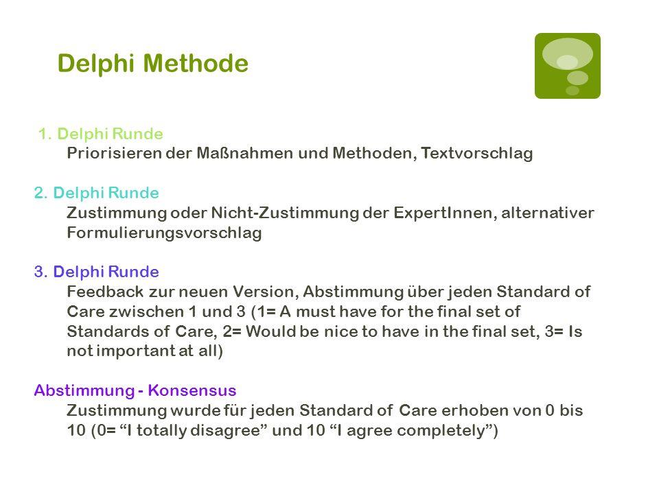 Delphi Methode 1. Delphi Runde