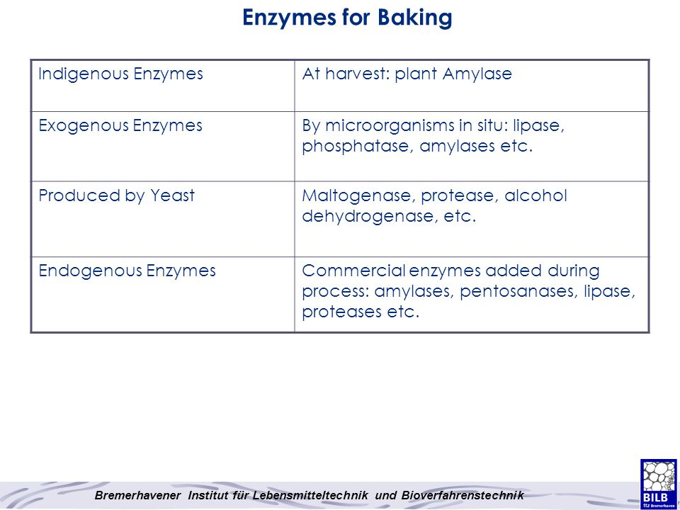 Enzymes for Baking Indigenous Enzymes At harvest: plant Amylase