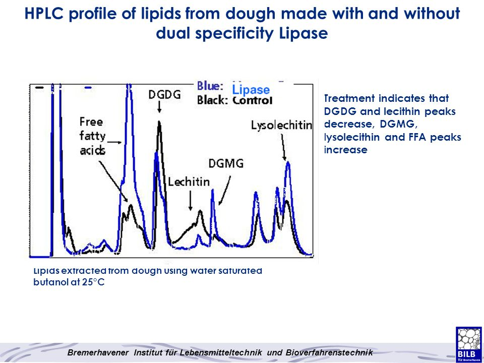 HPLC profile of lipids from dough made with and without dual specificity Lipase