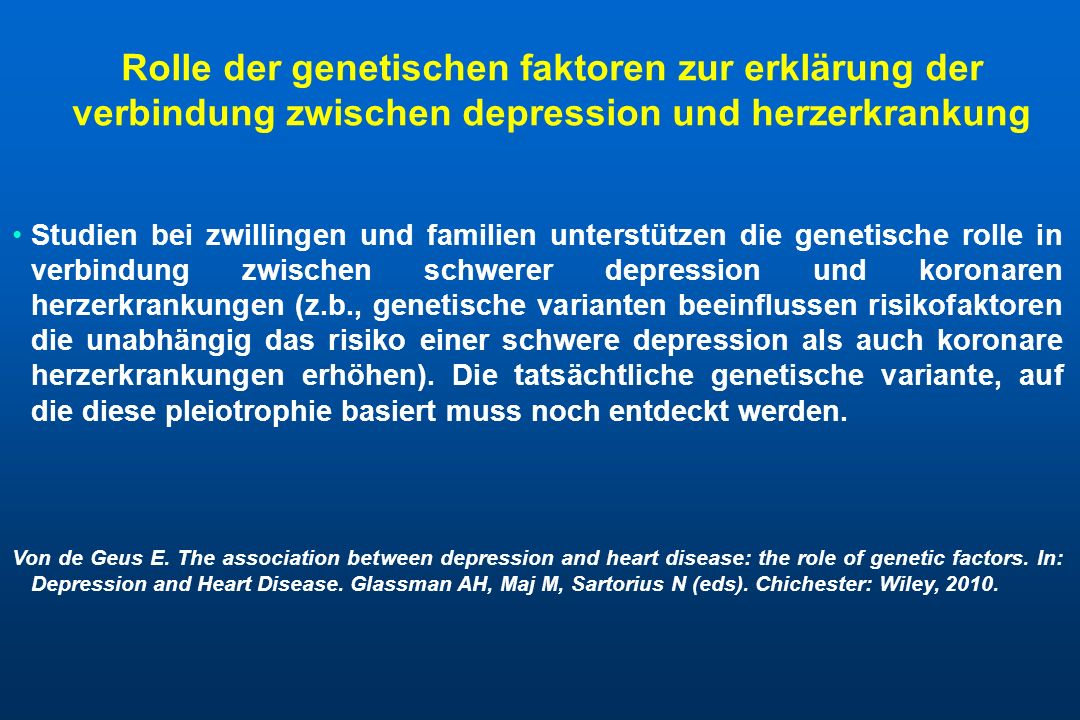 Rolle der genetischen faktoren zur erklärung der verbindung zwischen depression und herzerkrankung