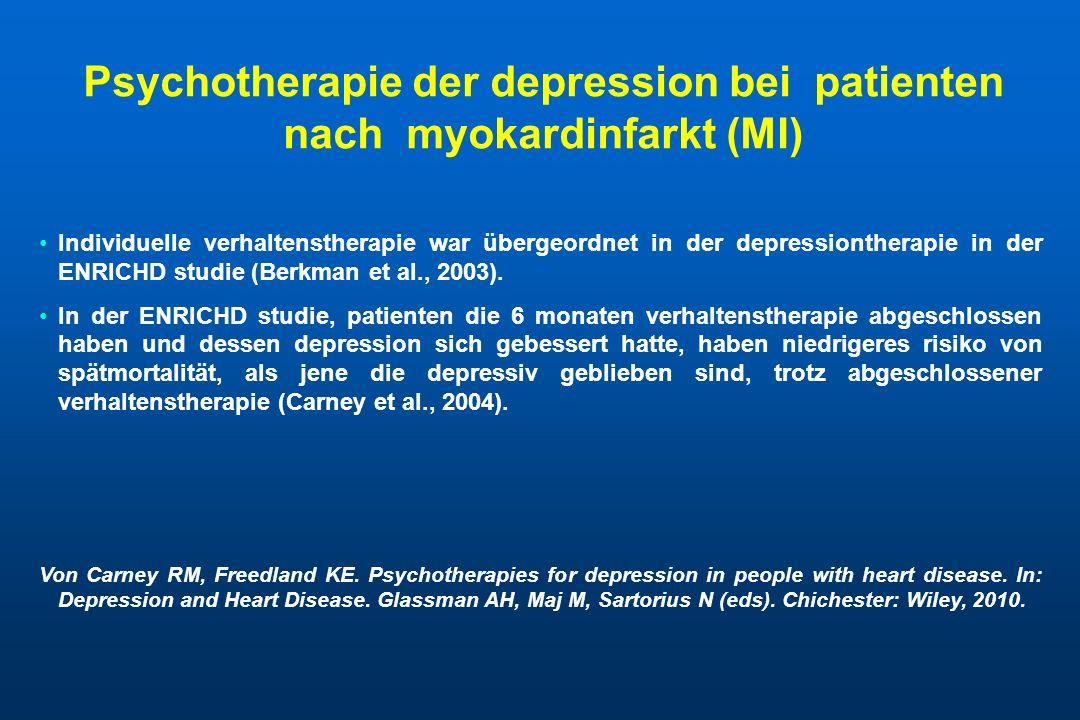 Psychotherapie der depression bei patienten nach myokardinfarkt (MI)