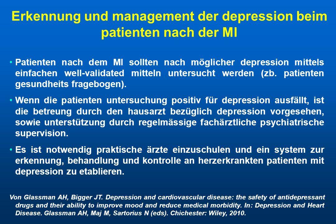 Erkennung und management der depression beim patienten nach der MI