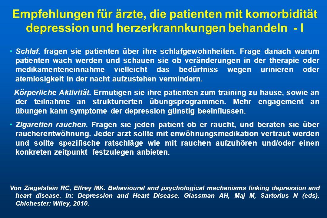 Empfehlungen für ärzte, die patienten mit komorbidität depression und herzerkrannkungen behandeln - I