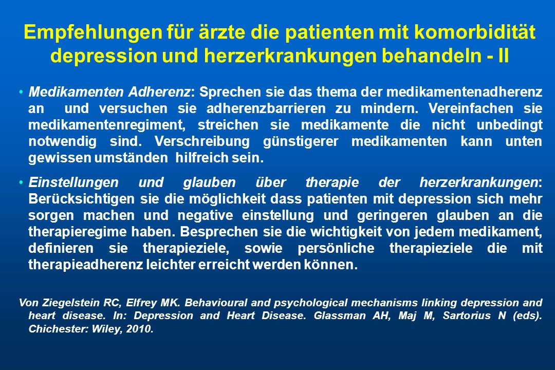 Empfehlungen für ärzte die patienten mit komorbidität depression und herzerkrankungen behandeln - II