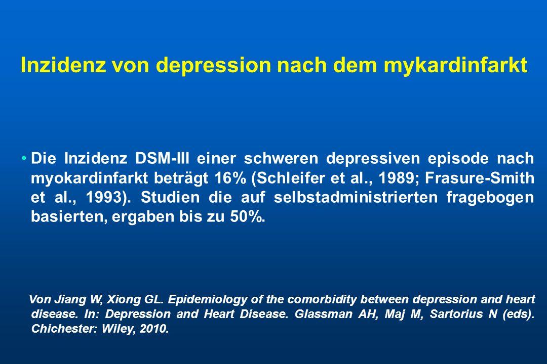 Inzidenz von depression nach dem mykardinfarkt