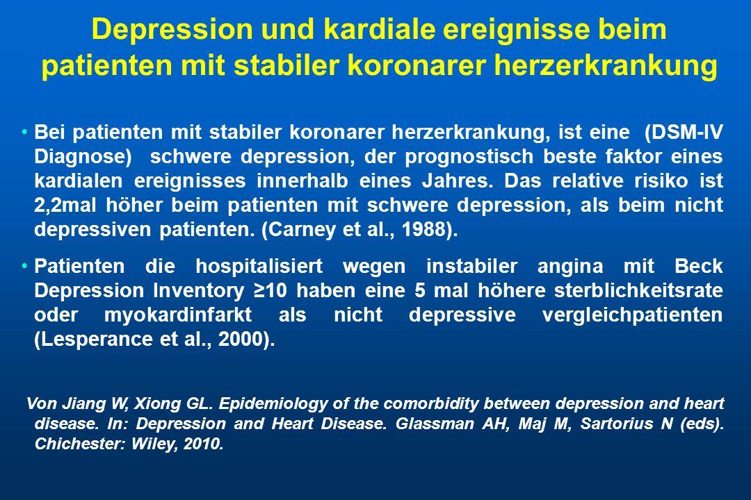 Depression und kardiale ereignisse beim patienten mit stabiler koronarer herzerkrankung