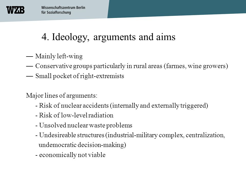 4. Ideology, arguments and aims