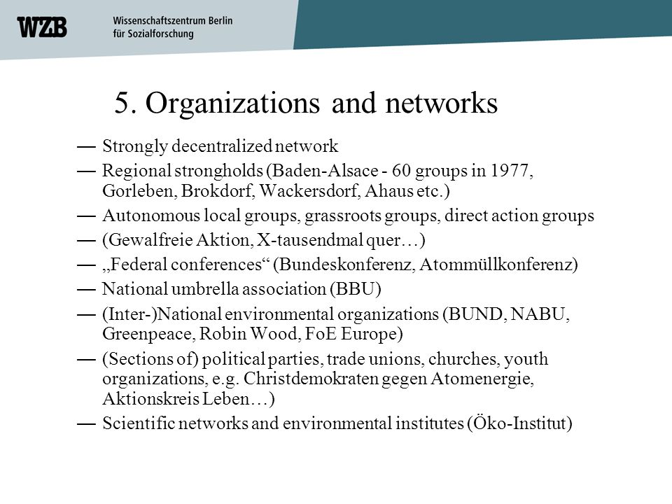 5. Organizations and networks