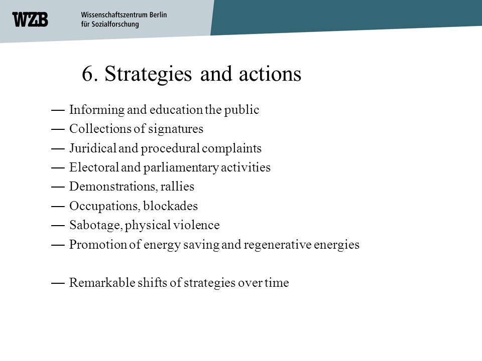 6. Strategies and actions