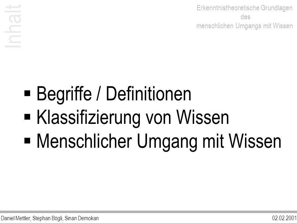 Inhalt Begriffe / Definitionen Klassifizierung von Wissen